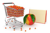 Shopping cart full of peaches — Stockfoto