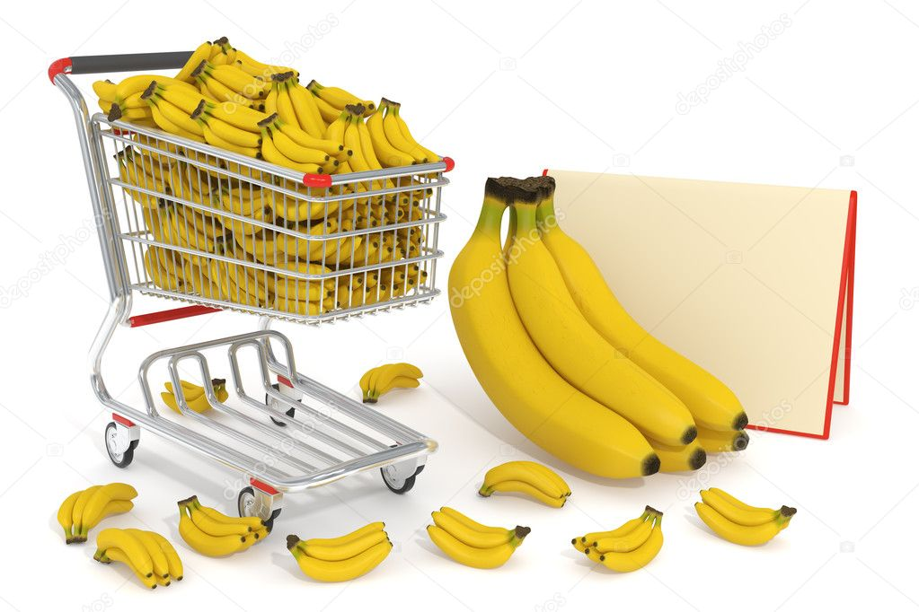 High detailed photo-realistic 3d render of bananas in a shopping cart — Stock Photo #11118481