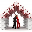 Business partners - 3d puzzle house — Stock Photo
