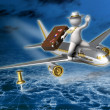 Holiday trip - 3d guy flying - Night — Stock Photo #11371330