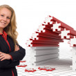Business woman - Puzzle house - Solutions — Stock Photo
