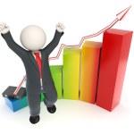 Jumping 3d business man - financial graph chart — Stock Photo