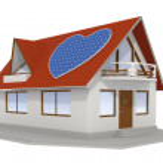 Heart shaped solar panel on house 2 — Stock Photo
