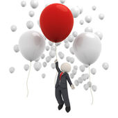 3d business man flying with balloons — Stock Photo