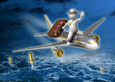 Holiday trip - 3d guy flying - Night — Stock Photo