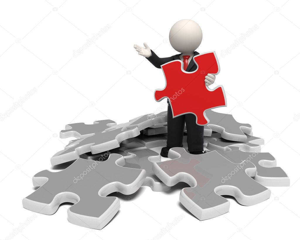 3d business man showing the solutuion as a red puzzle concept — Stock Photo #11370902