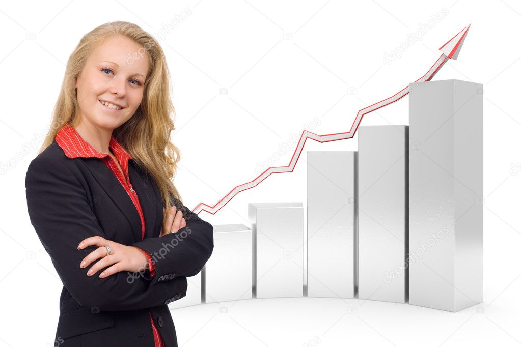 Photo of a young confident smiling business woman combined with a 3d rendered gray financial graph in the background - Semi isolated with soft shadows  Stock Photo #11371344