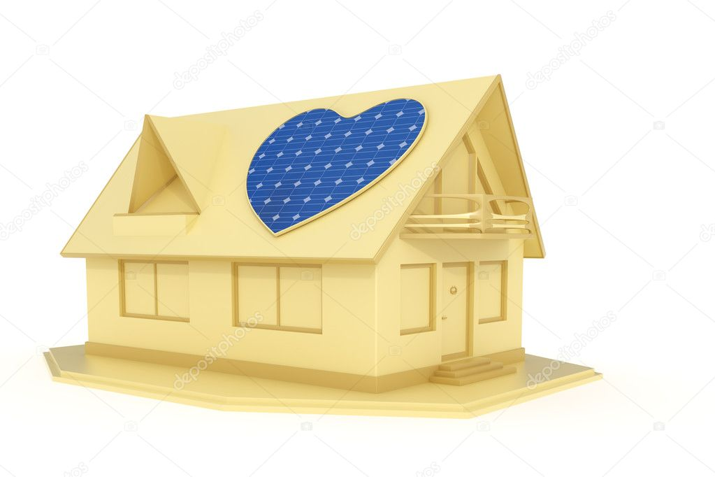 3d rendered heart shaped solar panel on a house isolated on white background — Stock Photo #11371358