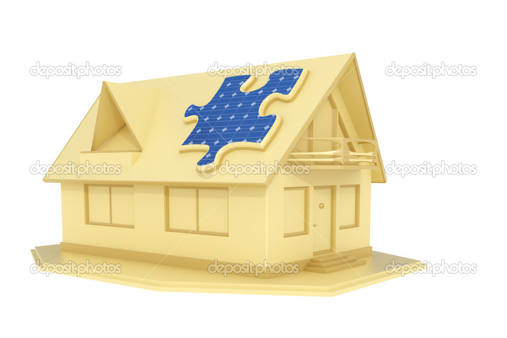 3d rendered house with a puzzle solar panel on the roof — Stock Photo #11371360