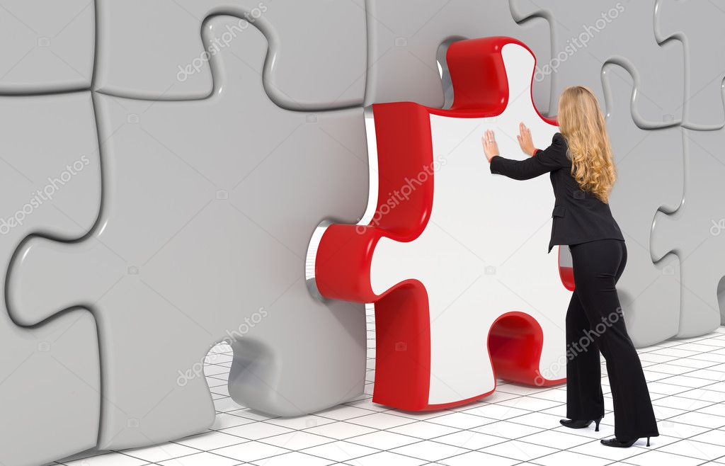 Business woman puting the last puzzle piece in - 3d — Stock Photo #11371372