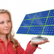 Solar panel in woman's hand — Stock Photo