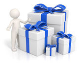 3d man - Blue gift boxes — Stock Photo