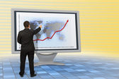Business man - financial growth - monitor — Stock Photo