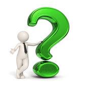 3d business man - Green question mark — Stock Photo