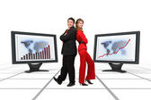 Business team smiling - Financial growth display — Stock Photo