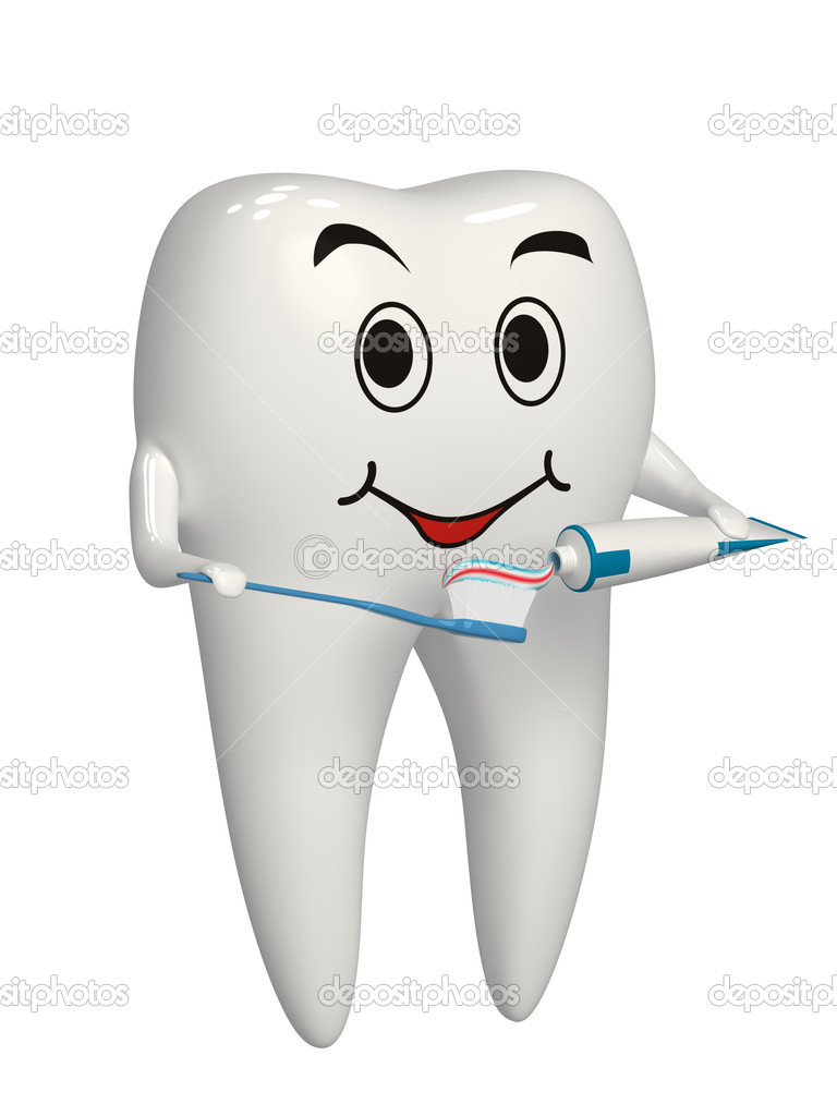Tooth putting toothpaste on the toothbrush — Stock Photo #11384982