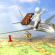 3d guy traveling by plane - Stock Photo