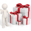 3d man - Red gift boxes — Stock Photo