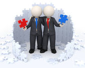 3d business partners - Puzzle solutions — Stock Photo