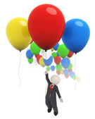 3d business man flying with colorful balloons — Zdjęcie stockowe