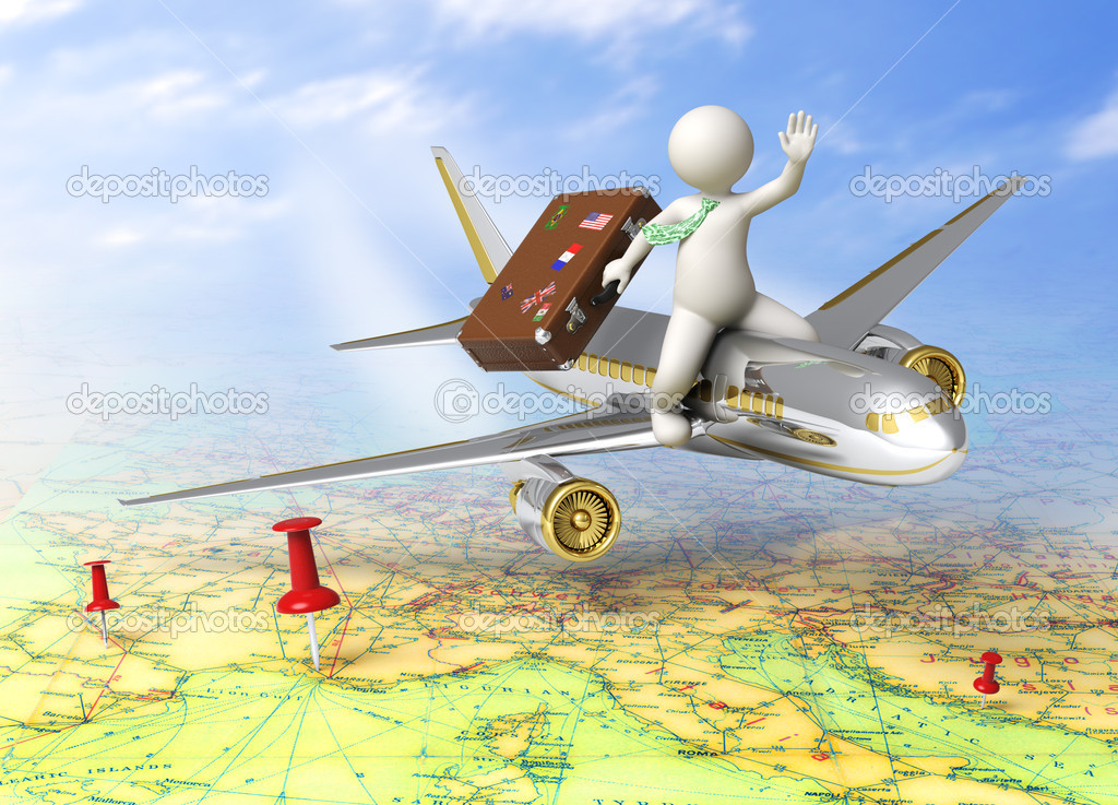 Vacation - 3d guy flying on a plane, carrying his suitcase - Tourism concept — Stock Photo #11456395