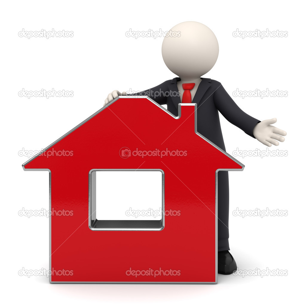 3d rendered business man in a black suit presenting a red virtual house - Isolated with soft shadows — Stock Photo #11456685