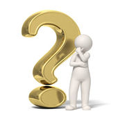 Thinking 3d guy - Gold question mark — Stock Photo
