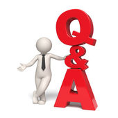 Q&A Icon - Questions and answers - 3d man — Stock Photo