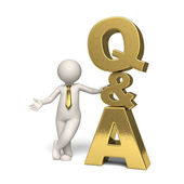 Q&A Icon gold - Questions and answers - 3d man — Foto de Stock