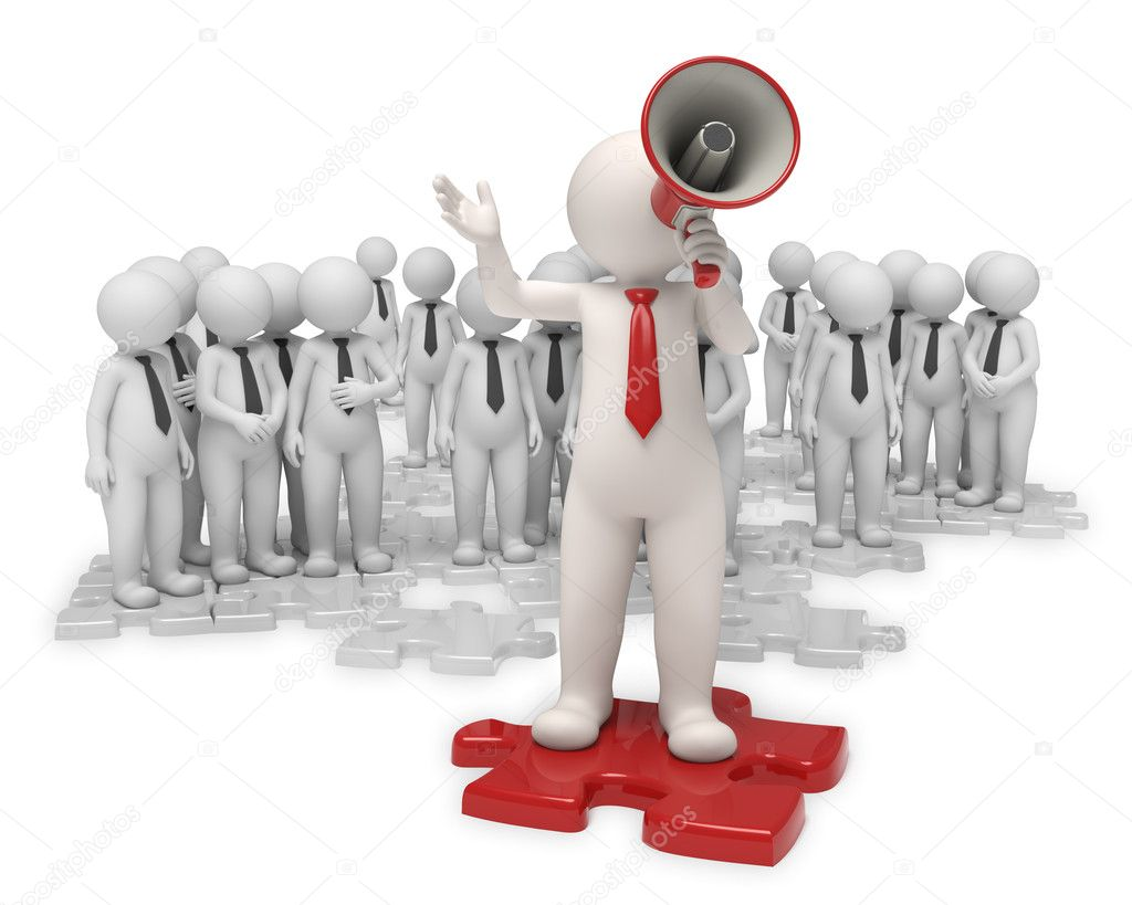 team leader megaphone stock photo copy jocky  3d team standing on gray puzzle pieces while their leader making an announcement a red megaphone isolated photo by jocky