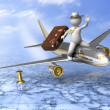 Holiday trip - 3d guy flying — Stock Photo #11518923