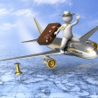 Holiday trip - 3d guy flying — Foto Stock