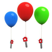 House or home keys hanging on colorful balloons - 3d — Stock Photo