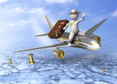 Holiday trip - 3d guy flying — Stock Photo