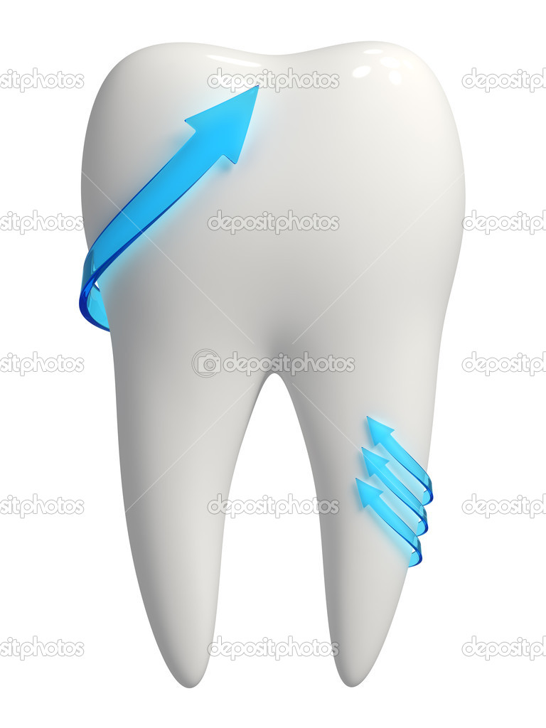 3d rendered photo-realistic white tooth with blue semi-transparent arrows pointing upward - Isolated icon on white background — Stock Photo #11518929