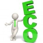 Green Eco text - 3d man — Stock Photo