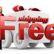Free shipping icon - Business woman - gift box - red — Stock Photo