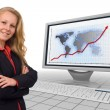 Business woman - financial growth - presentation — Stock Photo