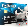Credit card - 3d man - Shopping cart — Stock Photo