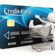 Кредитные карты - 3d человек - корзина — Стоковое фото