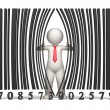 Bar code - 3d business man - Photo