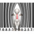 Bar code - 3d business man - Stock Photo