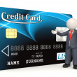 Blue credit card - 3d business man — Stock Photo