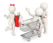 Glücklich 3d shopping - isoliert — Stockfoto