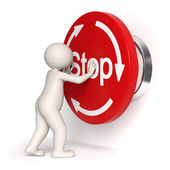 Emergency stop button - 3d man — Stock Photo