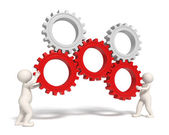 Gears solution icon - 3d — Stock Photo