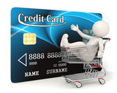 Credit card - 3d man - Shopping cart — Zdjęcie stockowe