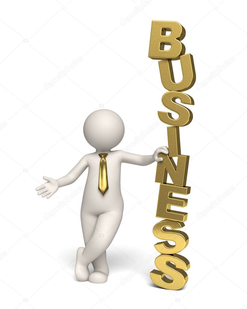 3d businessman standing near a gold business text - Isolated icon — Foto de Stock   #11803447
