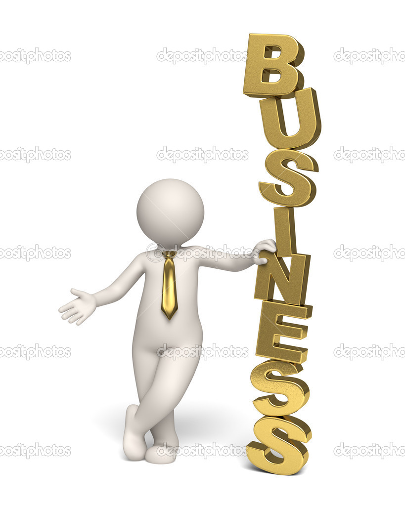 3d businessman standing near a gold business text - Isolated icon — Foto Stock #11803447