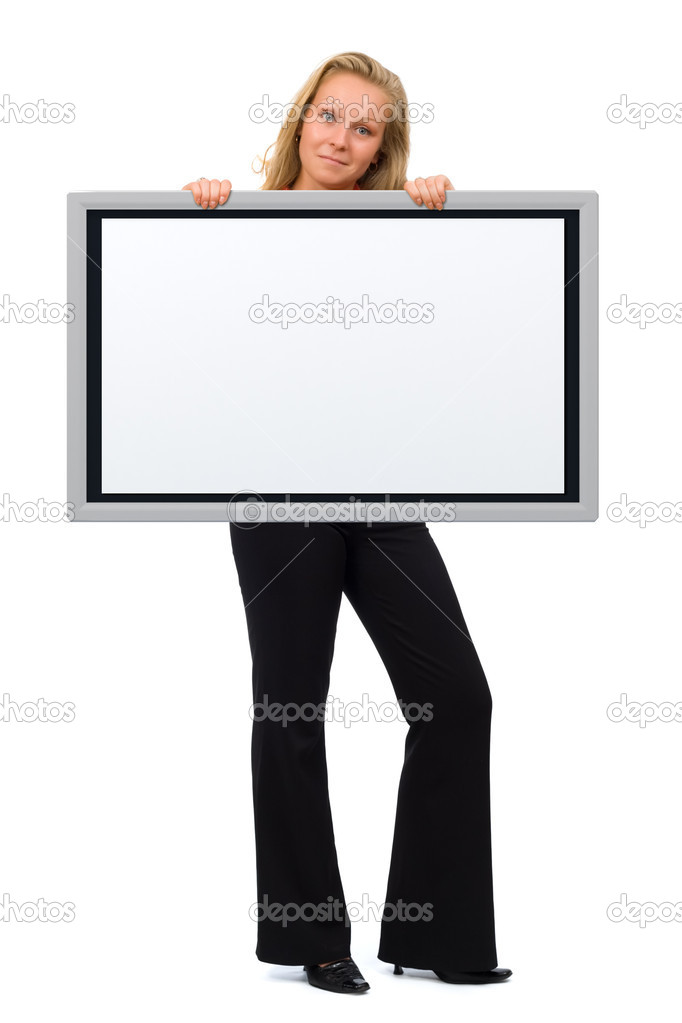 Young woman holding an empty board in her hand - Surprised expression on her face — Stock Photo #11803474